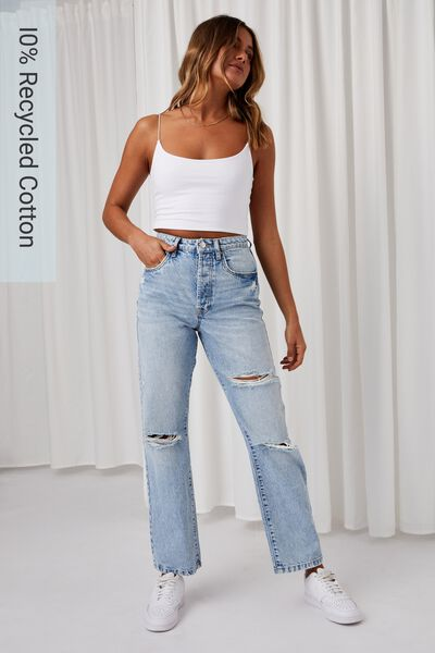 High Rise Straight Ripped Jean, LIGHT BLUE RIPS