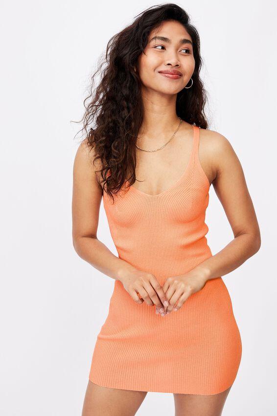 Felicity V-Neck Knit Dress, SHELL PINK