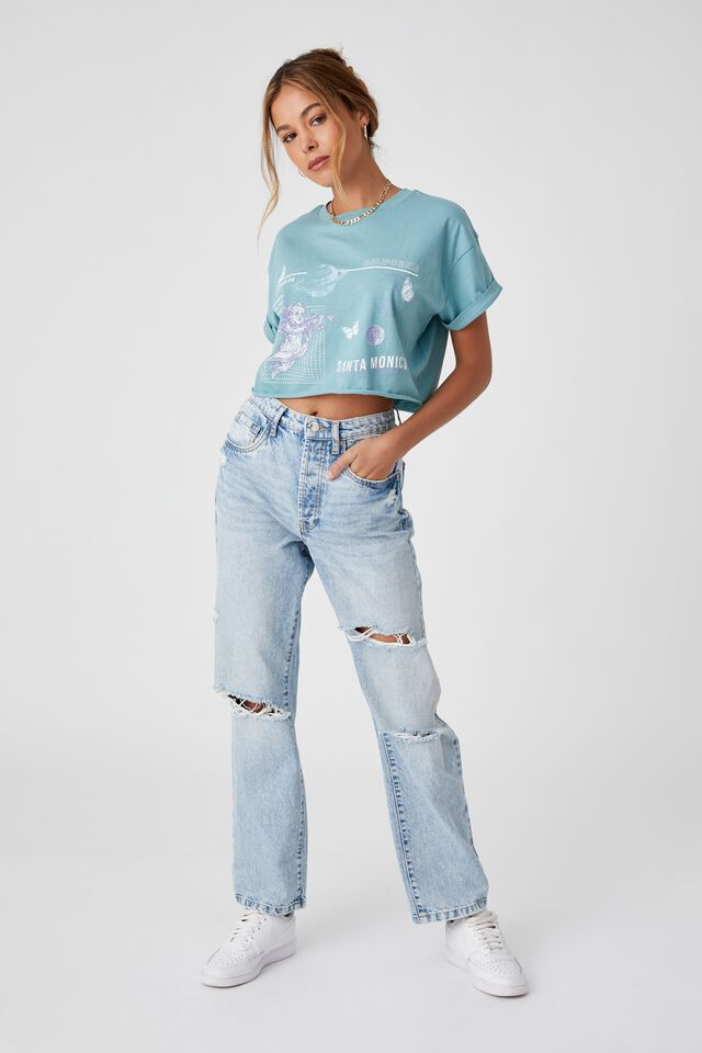 Tamara Printed Crop T Shirt, PEACOCK BLUE/SANTA MONICA ANGEL