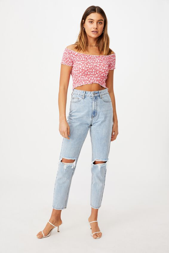 Kenzie Shirred Wrap Top, HALLEY FLORAL (HIBISCUS RED)