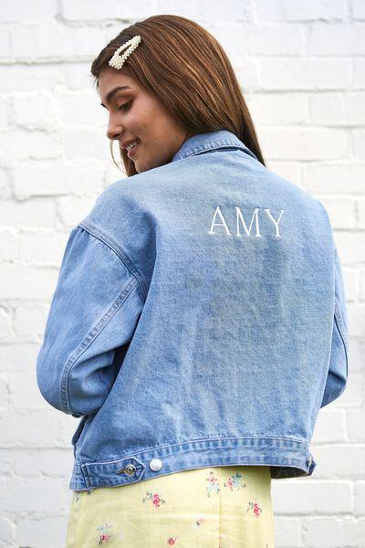 Customised 80S Denim Jacket, MID BLUE