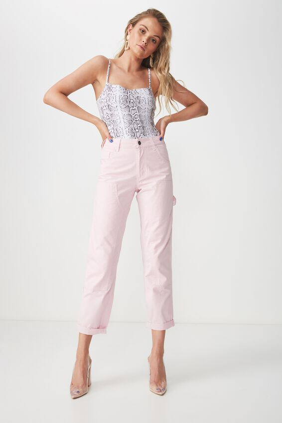 Contrast Stitch Workman Pant, PINK