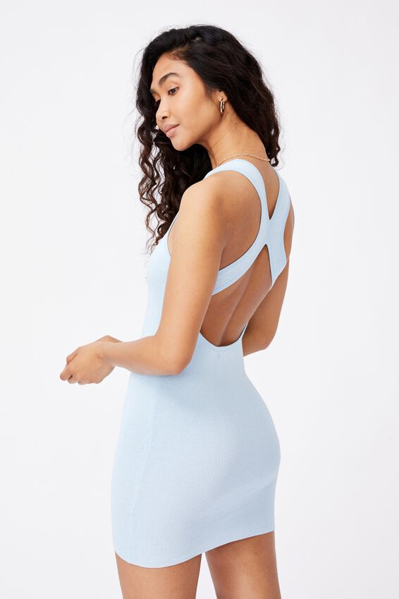 India Cutout Mini Dress, PEARL BLUE