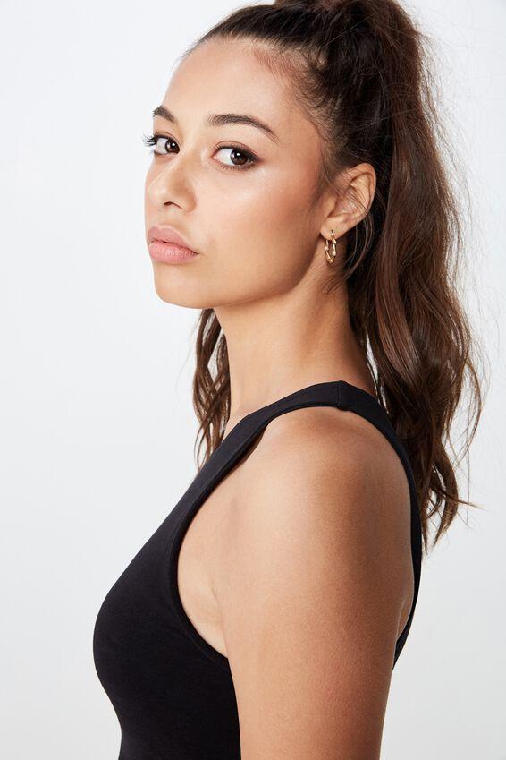 Tiffany High Neck Top, BLACK