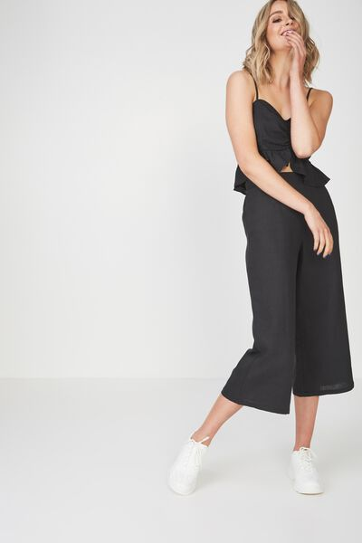 Crop Wide Leg Linen Blend Pant, CHARCOAL