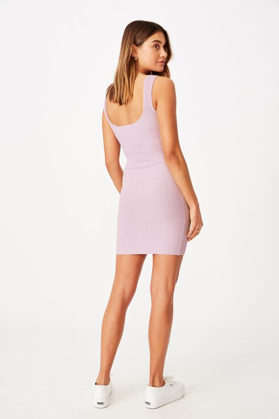 Maggie Square Neck Knit Dress, LAVENDER SKY