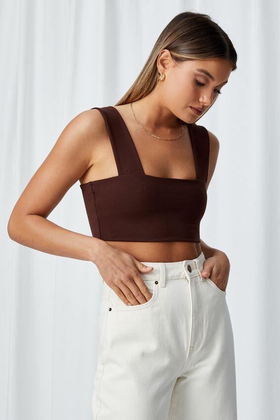 Kira Thick Strap Crop Top, CHOCOLATE