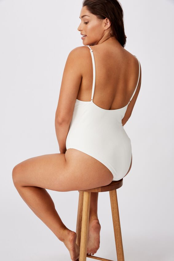 Shelly Snap Button One Piece, WHITE RIB