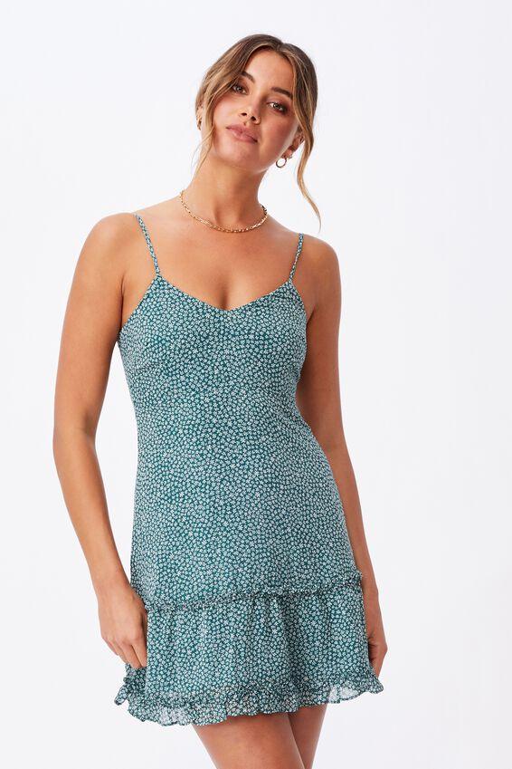 Chloe Tiered Mini Dress, DELTA DAISY GREEN