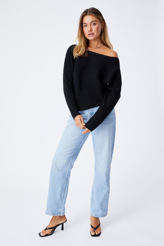 Lexis Off Shoulder Knit, BLACK