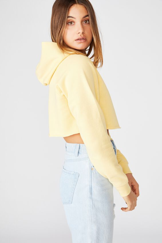 Harley Super Crop Hooded Sweat, BLEACH LEMON