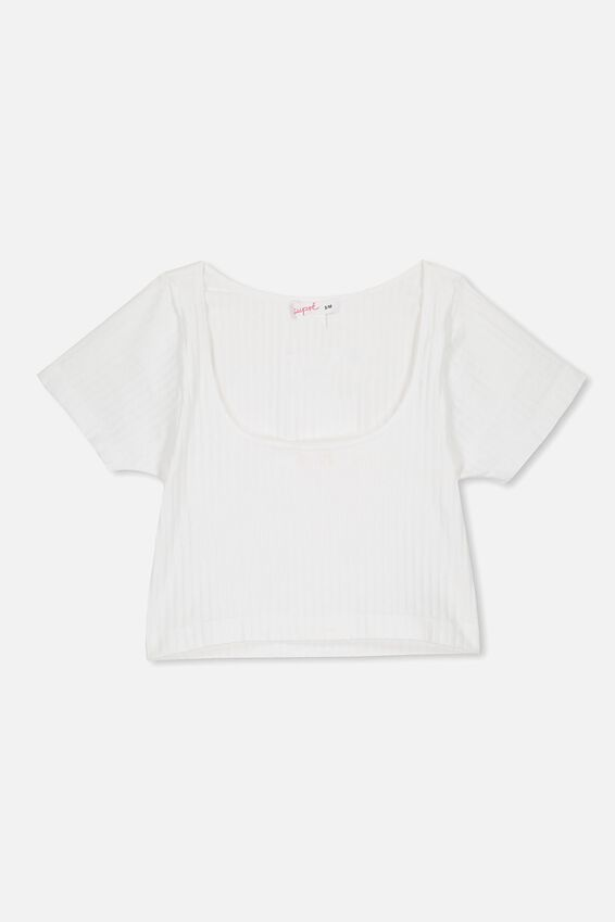 Seamfree Cropped Tee, WHITE