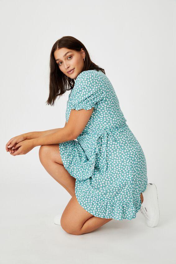 Ellie Peasant Sleeve Wrap Dress, MARGOT MONO FLORAL LILYPAD