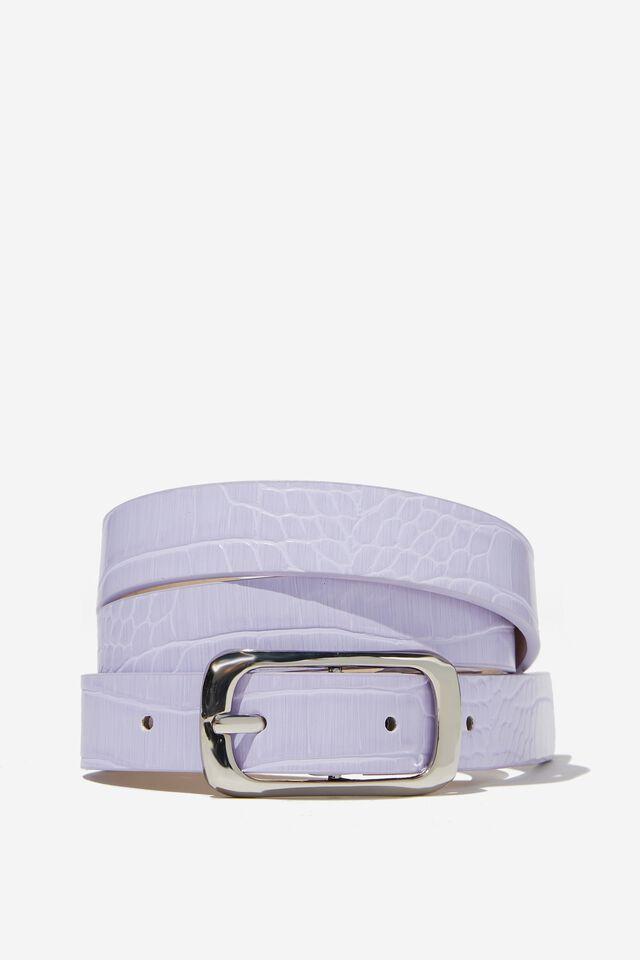 Gem Oval Croc Belt, LILAC