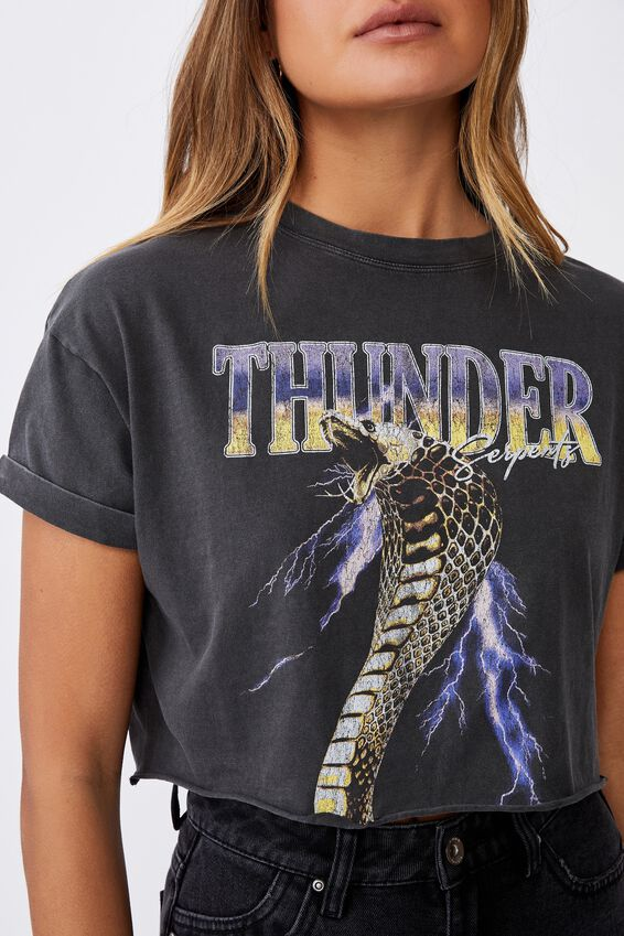 Tamara Printed Crop T Shirt, VINTAGE WASH PHANTOM/THUNDER SERPENTS