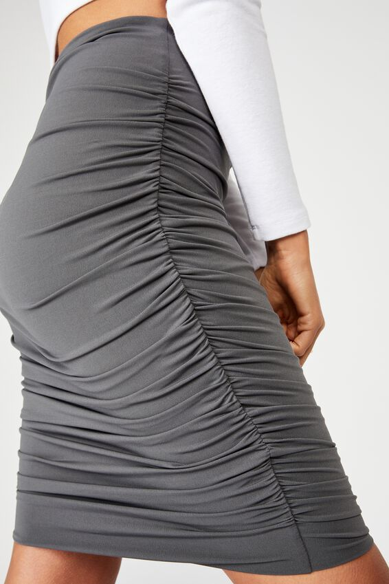 Oakley Gathered Midi Skirt, GRANITE GRAY