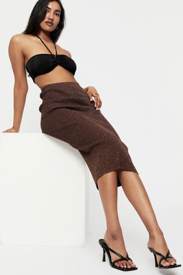 Kaycee Midi Tube Skirt, BRUNETTE/METALLIC