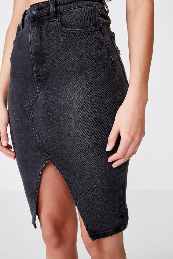 The Premium Midi Skirt, SMOKEY BLACK