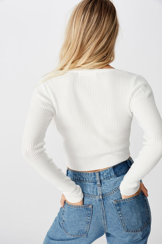 Olive Long Sleeve V Neck Cardi Knit, WHITE