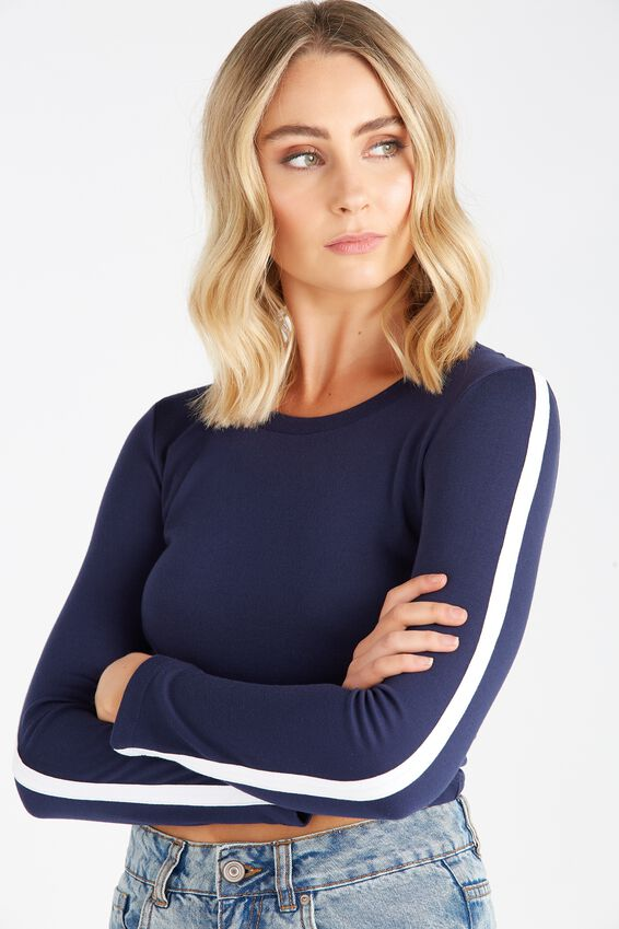 Long Sleeve Side Stripe Fitted Crop Top   Tuggl