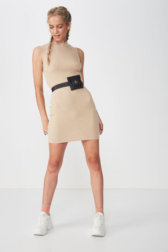 Layla Rib High Neck Mini Dress, BROWN SUGAR