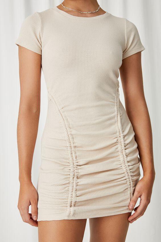 Laura Ruched Mini Dress, BEIGE BUFF
