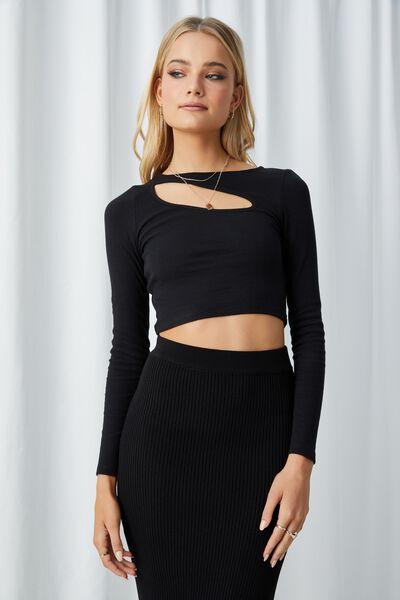 Gemma Long Sleeve Cut Out Top, BLACK