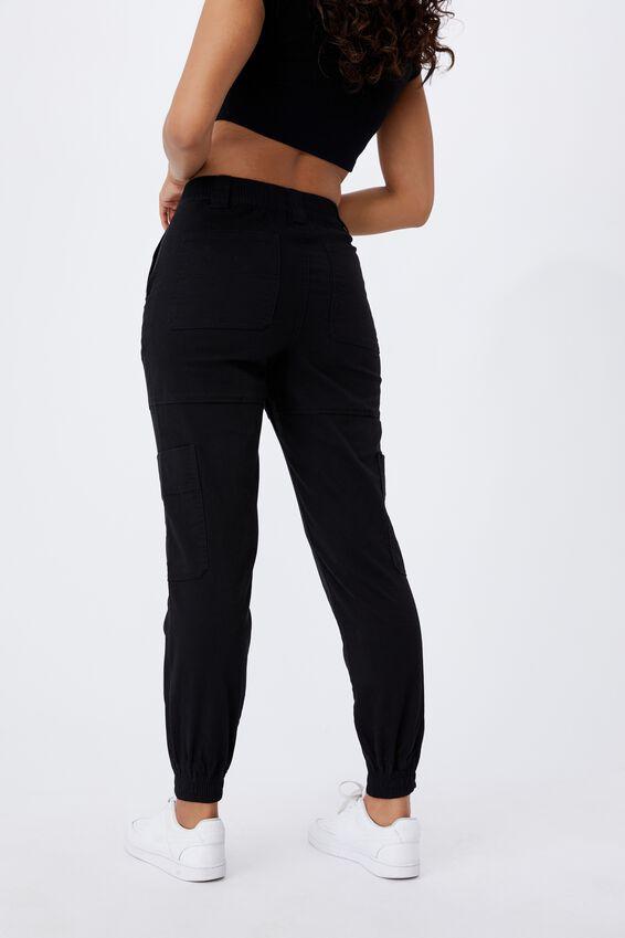 Kiki High Rise Cargo Pant, BLACK