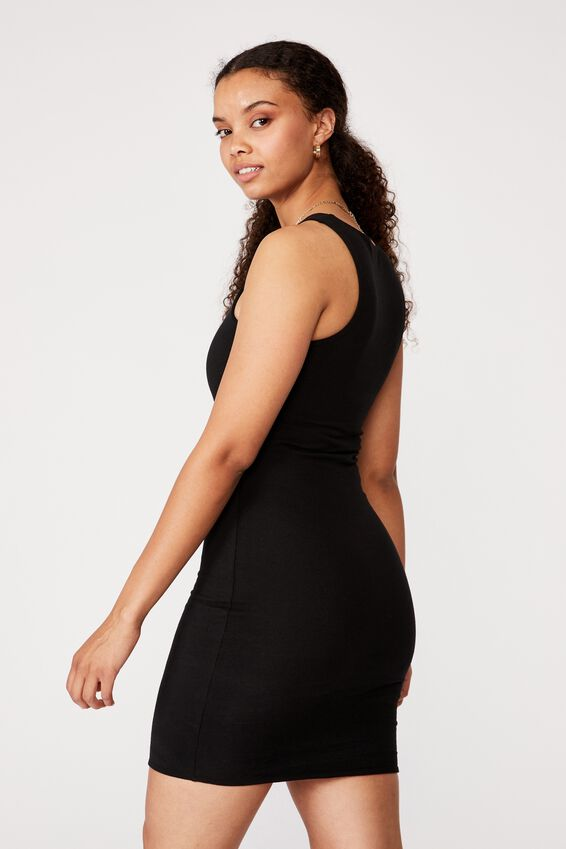 Lea Racer Back Mini Dress, BLACK