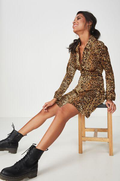 Paris Satin Shirt Dress, OCELOT LEOPARD