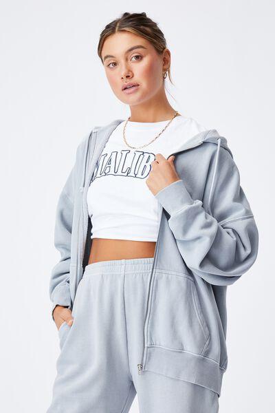 Zola Oversized Zip Through Hoodie, WASHED BLUE FOG