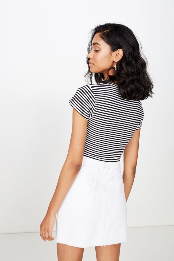 Fitted Scoop Neck Tee, TIA STRIPE (BLACK/WHT)