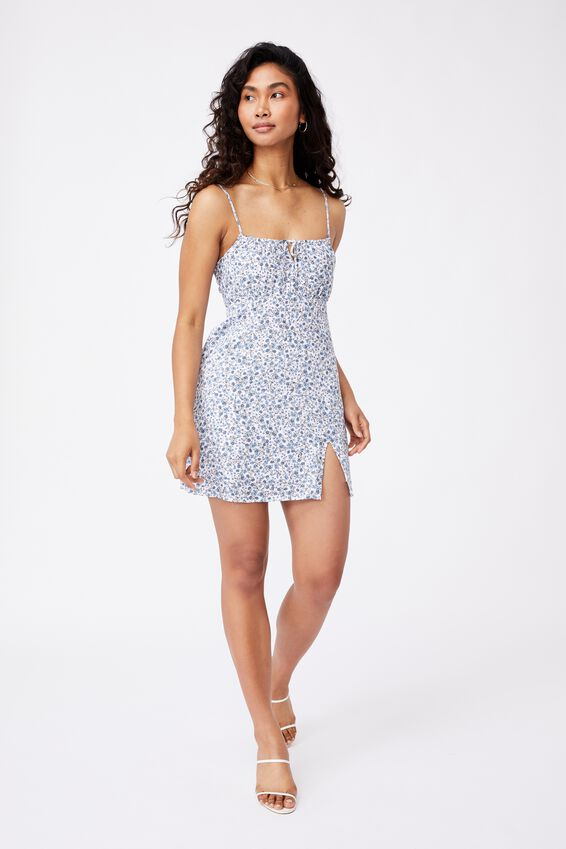 Juliana Tie Front Mini Dress, LUCY FLORAL PEARL BLUE