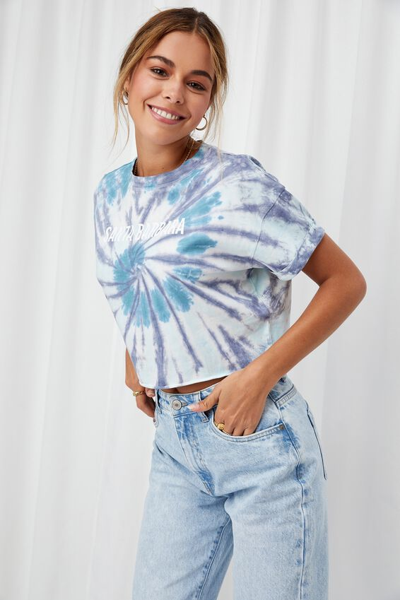 Tamara Printed Crop T Shirt, SWIRL TIE DYE/SANTA BARBARA