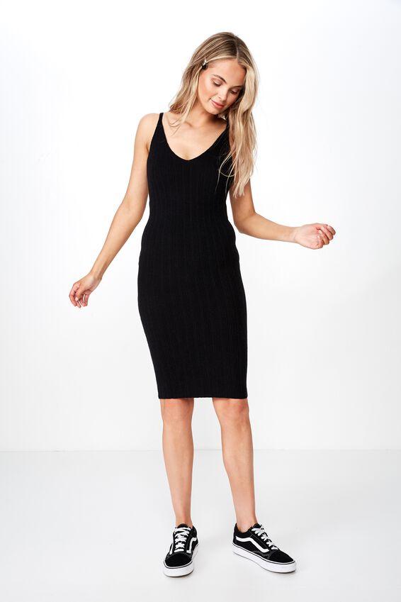 Nessa Thin Strap Midi Dress, BLACK