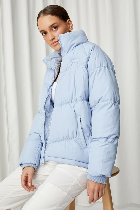 Personalised Puffer Jacket, COOL BLUE