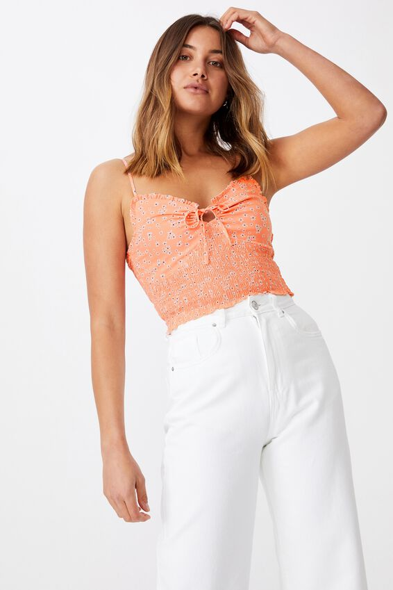 Megan Shirred Cami, ROCHELLE FLORAL PEACH PINK