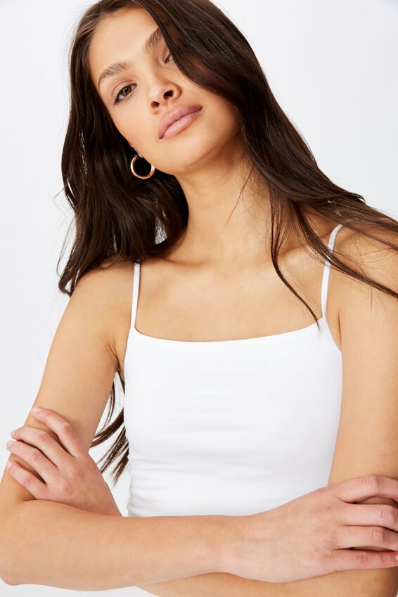 Basic Square Neck Thin Strap Cami, WHITE