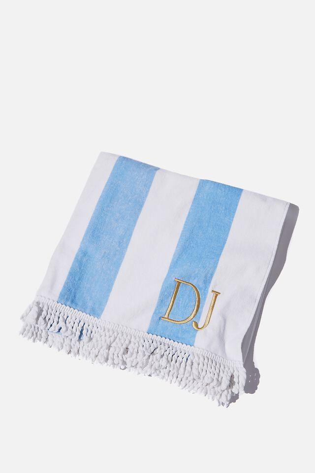 Personalised Beach Towel, BLUE DAZE/WHITE STRIPE