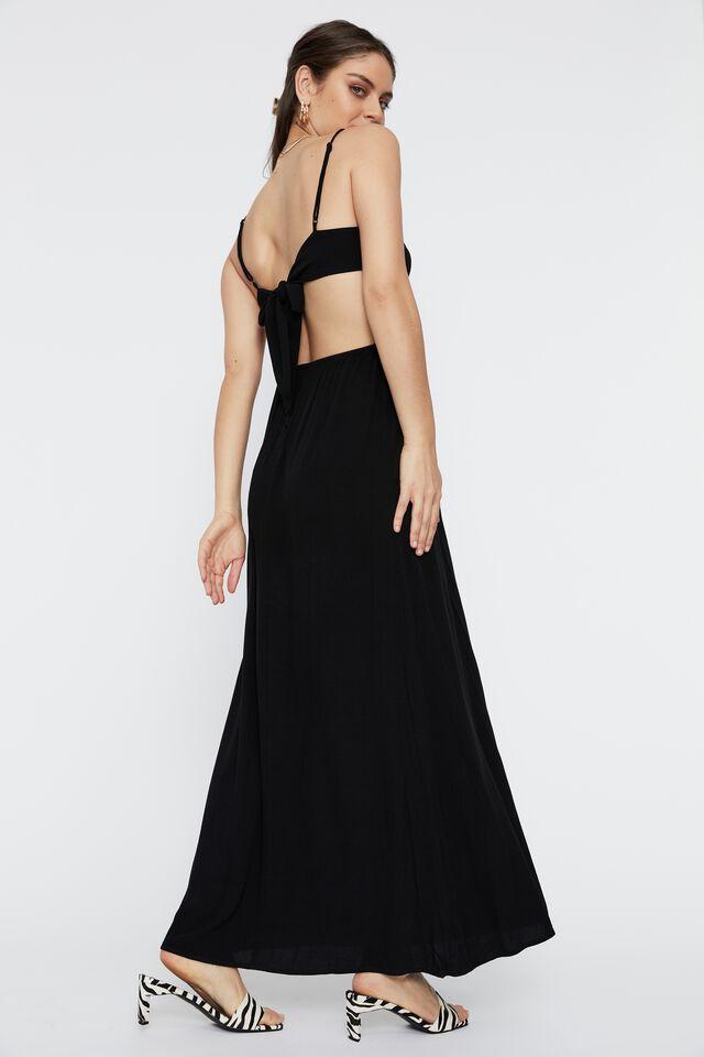 Ariel Tie Back Maxi Dress, BLACK