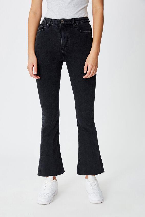 Crop Kick Flare Jean, VINTAGE BLACK