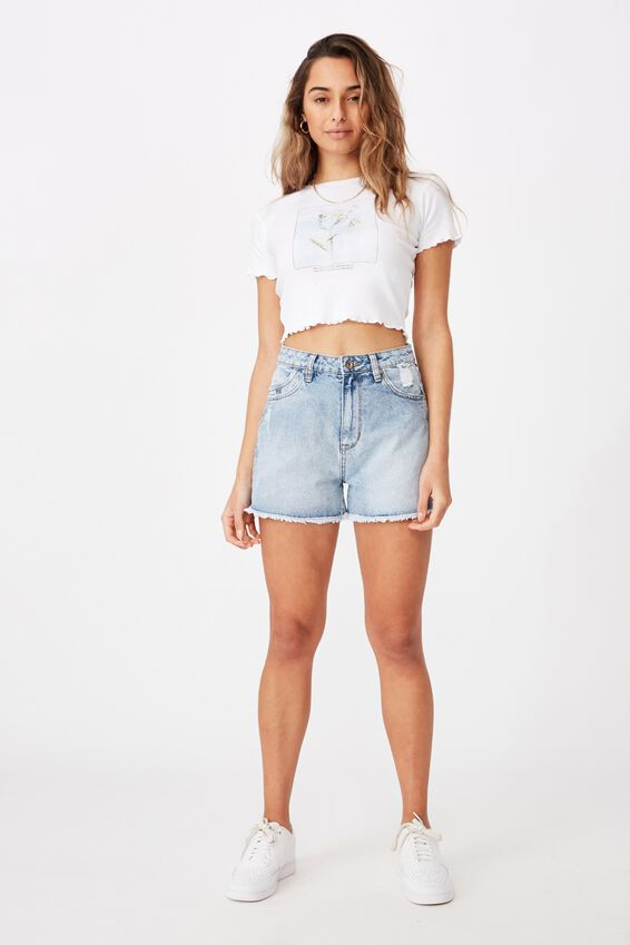 Venice Mom Denim Short, NORDIC BLUE