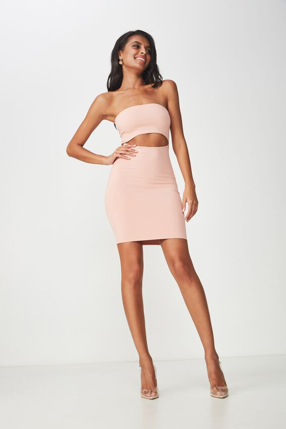 Party Front Cutout Mini Dress, BLUSH PINK