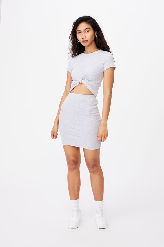 Kennedy Rib Mini Skirt, GREY MARLE