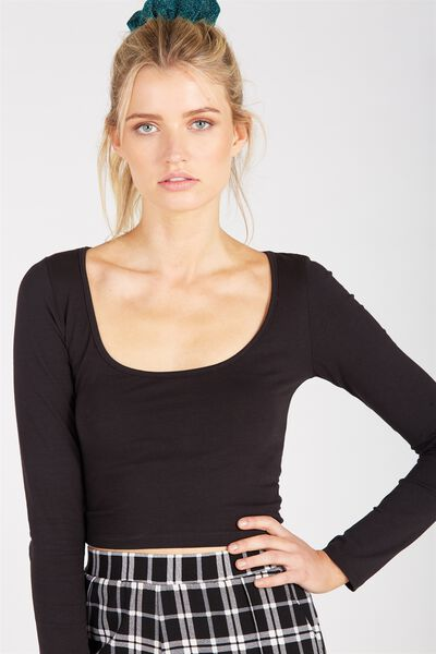 Basic Long Sleeve Tiny Tee, BLACK