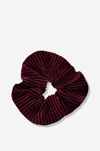 Pleated Plush Scrunchie, BURGUNDY