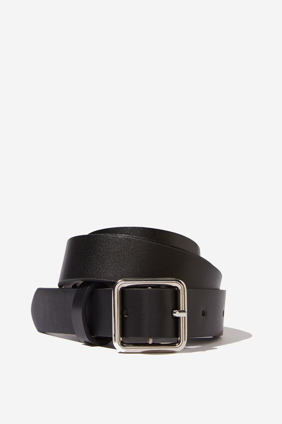 Madison Square Buckle Belt, BLACK/SILVER
