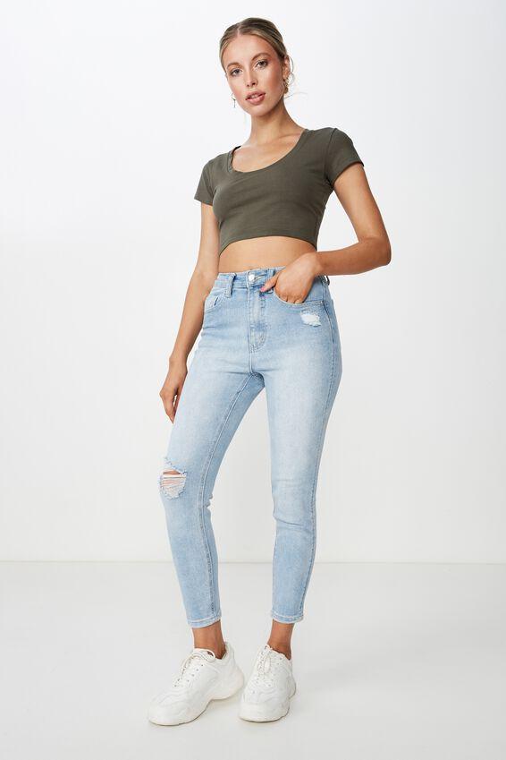 Short Skinny Premium Ankle Grazer Jean, LIGHT VINTAGE BLUE