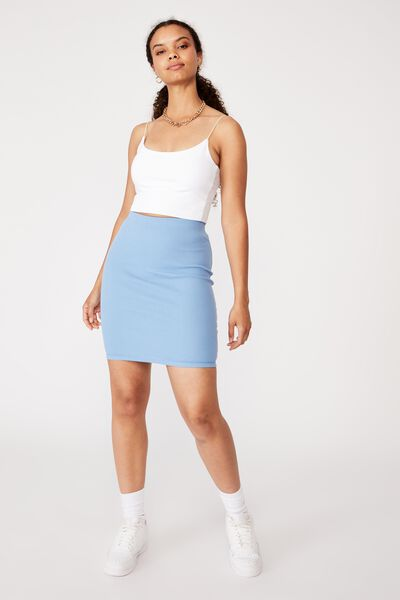 Kennedy Rib Mini Skirt, CAROLINA BLUE