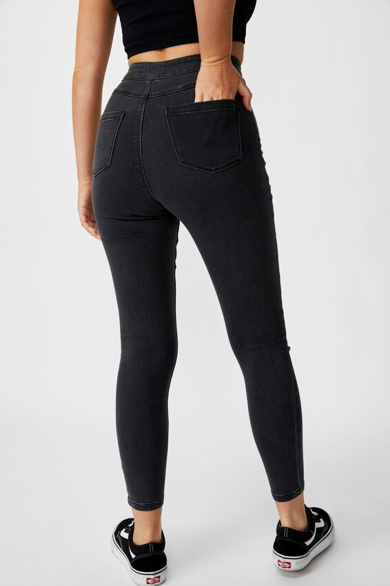 Short Super Skinny Sky High Ripped Jean, DUSTY BLACK